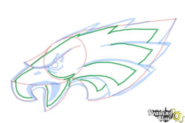 How to Draw Philadelphia Eagles Logo, Nfl Team Logo - Step 8