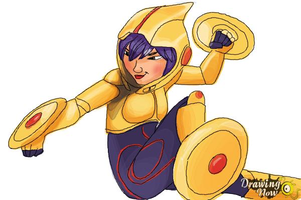 How to Draw Gogo Tomago from Big Hero 6 - Step 10