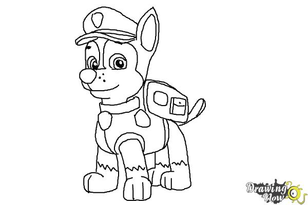How to Draw Chase from Paw Patrol - Step 10