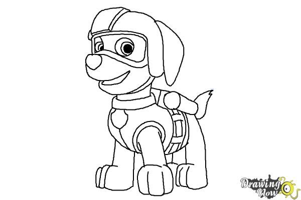 How To Draw Zuma Paw Patrol   Step 10