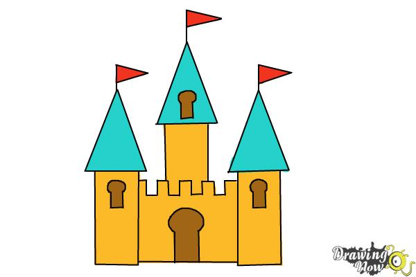 How to Draw a Simple Castle - Step 8