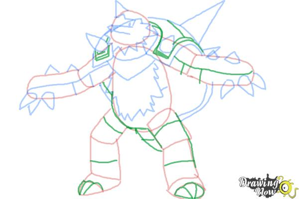 How to Draw Chesnaught from Pokemon - Step 8