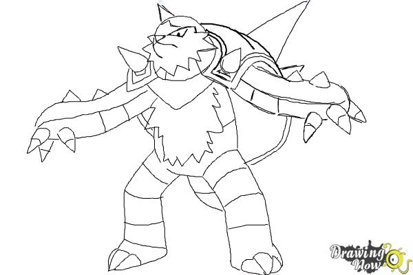 How to Draw Chesnaught from Pokemon - Step 9
