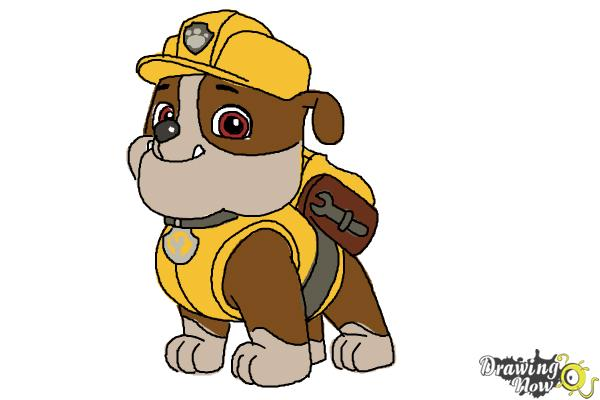 how to draw rubble paw patrol step 13