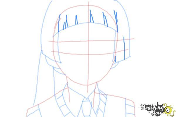 How to Draw Izumo Kamiki from Ao No Exorcist, Blue Exorcist - Step 6