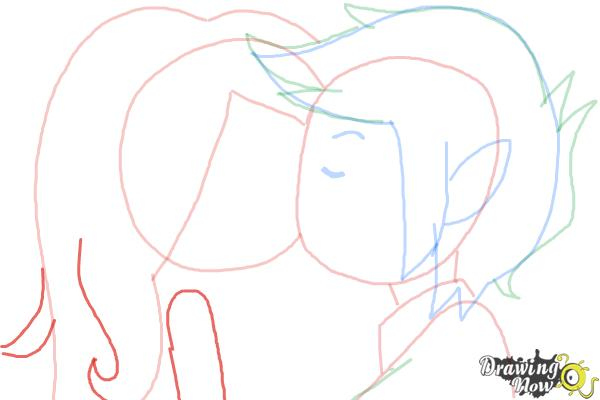 How to Draw Marceline And Marshall Lee Kissing - Step 7