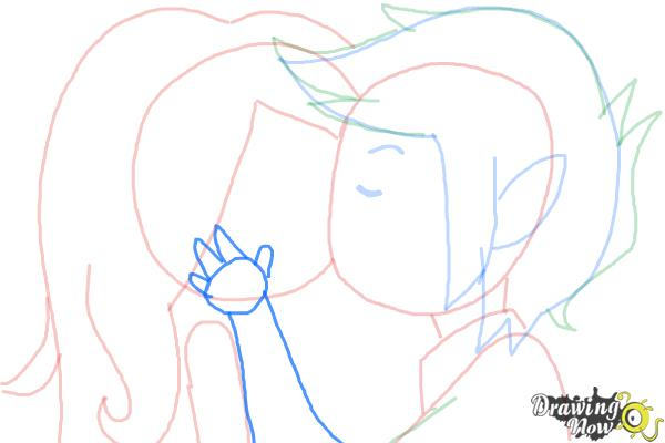 How to Draw Marceline And Marshall Lee Kissing - Step 8