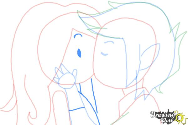 How to Draw Marceline And Marshall Lee Kissing - Step 9