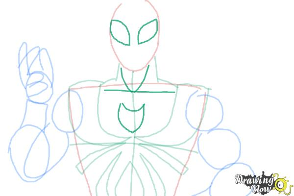 How to Draw Iron Spider Armor - Step 6