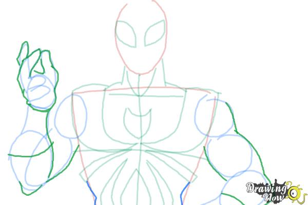 How to Draw Iron Spider Armor - Step 7
