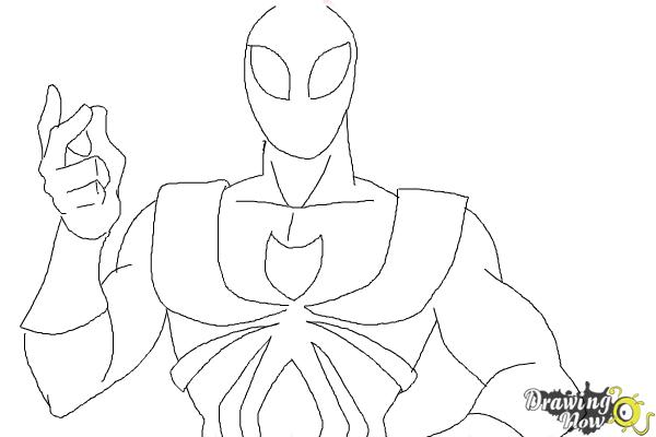 How to Draw Iron Spider Armor - Step 8
