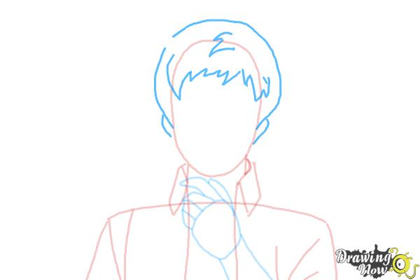 How to Draw Renzo Shima from Ao No Exorcist, Blue Exorcist - Step 4