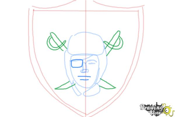 How to Draw The Oakland Raiders, Nfl Team Logo - Step 6