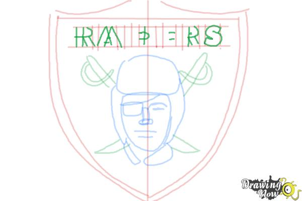 How to Draw The Oakland Raiders, Nfl Team Logo - Step 8