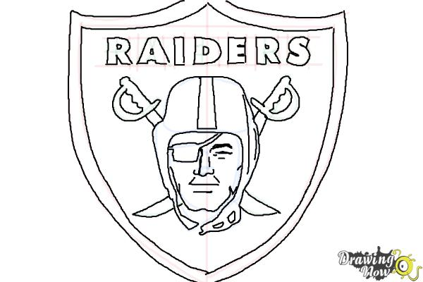 How to draw the oakland raiders nfl team logo drawingnow for Oakland raiders logo coloring page