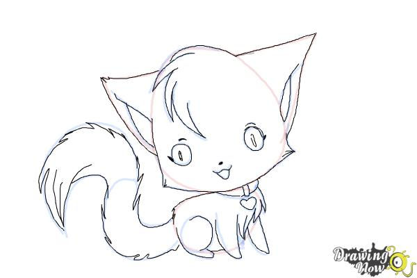 How to Draw a Chibi Kitten - Step 9