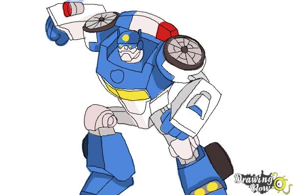 How to Draw Chase from Transformers Rescue Bots - Step 11