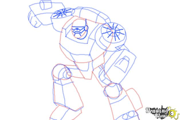 How to Draw Chase from Transformers Rescue Bots - Step 9