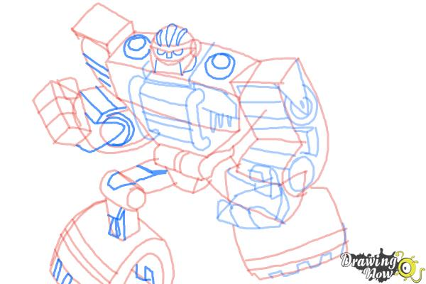 How to Draw Boulder from Transformers Rescue Bots - Step 10