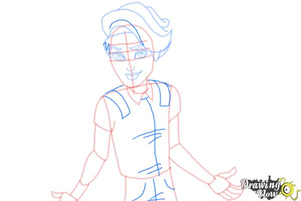 How to Draw Porter Geiss from Monster High - Step 7