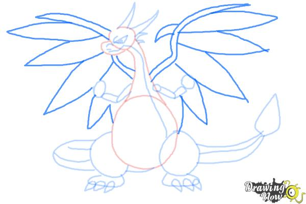 How to Draw Mega Charizard X - Step 7