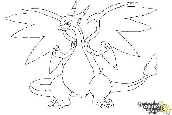 How to Draw Mega Charizard X - Step 8
