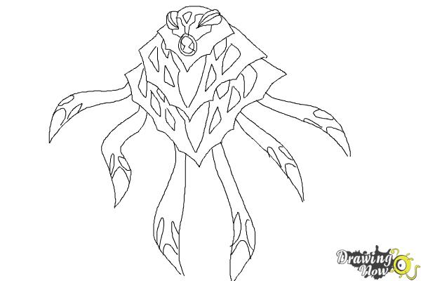 How to Draw Ampfibian from Ben 10 Omniverse - Step 8