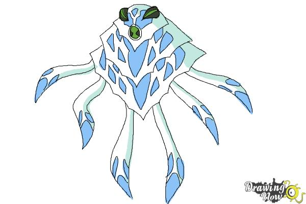 How to Draw Ampfibian from Ben 10 Omniverse - Step 9