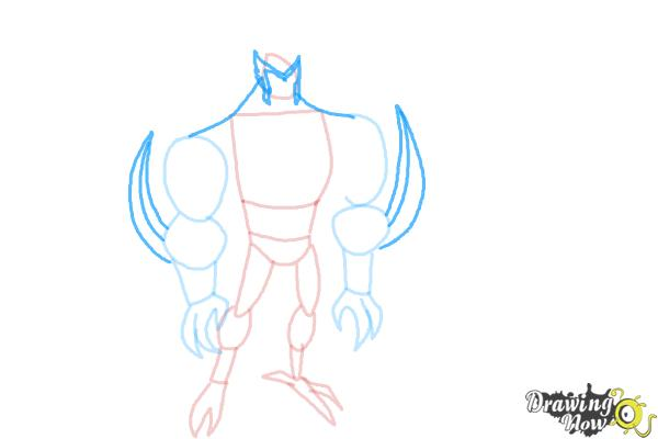 How to Draw Kickin' Hawk from Ben 10 Omniverse - Step 5