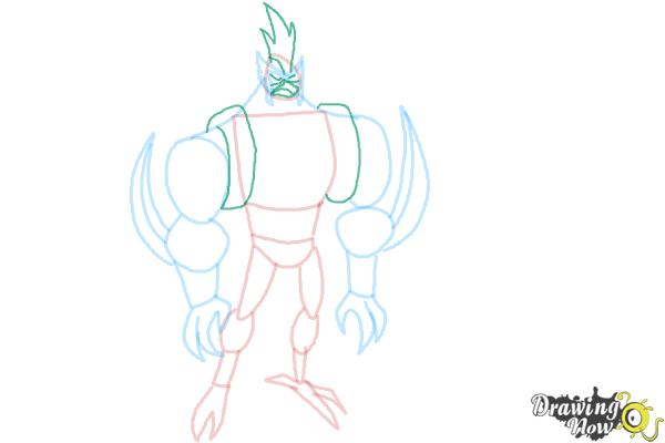How to Draw Kickin' Hawk from Ben 10 Omniverse - Step 6