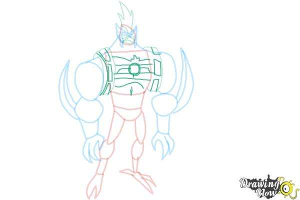 How to Draw Kickin' Hawk from Ben 10 Omniverse - Step 7