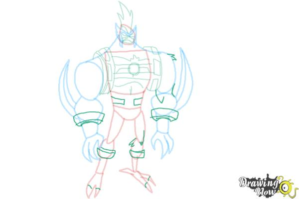 How to Draw Kickin' Hawk from Ben 10 Omniverse - Step 8