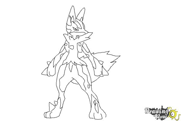 How to Draw Mega Lucario - Step 8