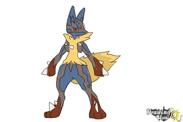 How to Draw Mega Lucario - Step 9