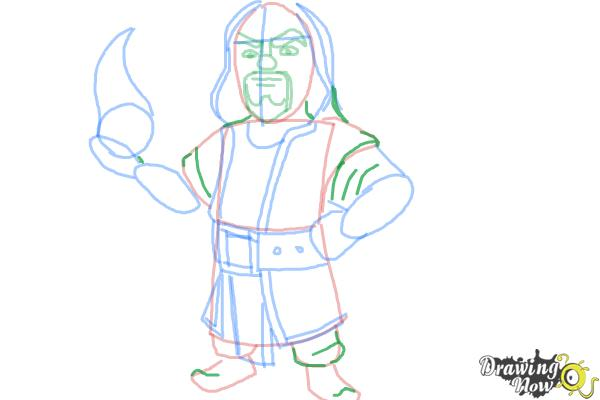 How to Draw Clash of Clans Wizard - Step 8