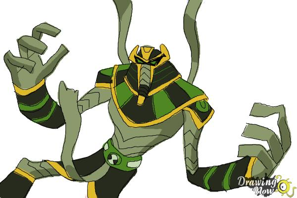 How to Draw Snare-Oh from Ben 10 Omniverse - Step 12