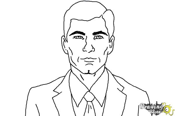 How to Draw Archer, Sterling Malory Archer from Archer - Step 9