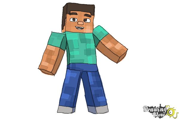 How to Draw Diamond Steve from Minecraft - Step 10