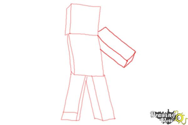 How to Draw Diamond Steve from Minecraft - Step 5