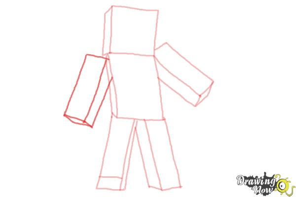 How to Draw Diamond Steve from Minecraft - Step 6