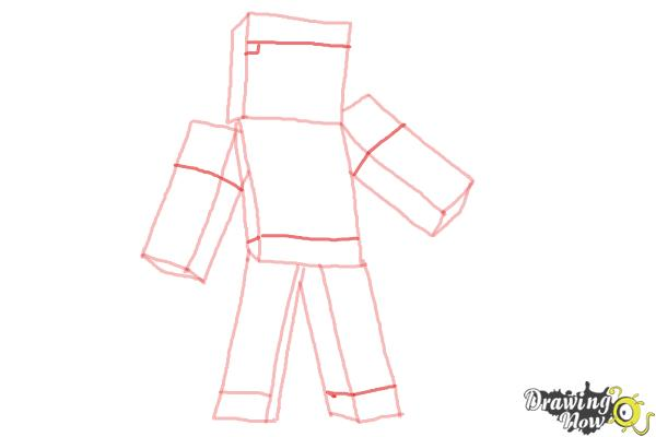 How to Draw Diamond Steve from Minecraft - Step 7