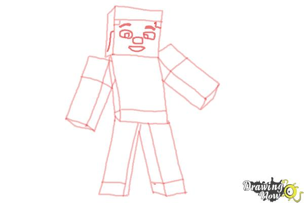 How to Draw Diamond Steve from Minecraft - Step 8
