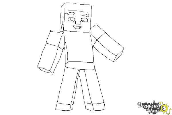 How to Draw Diamond Steve from Minecraft - Step 9