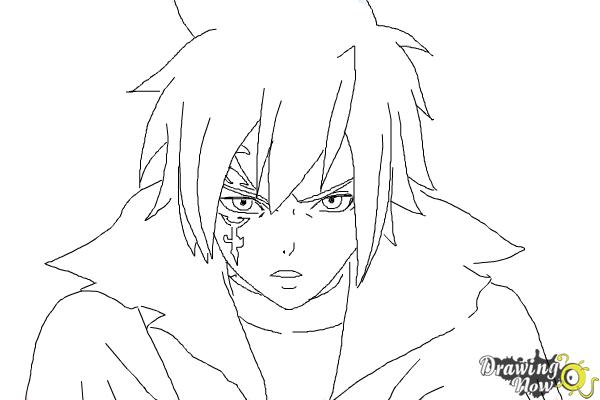 How to Draw Mystogan from Fairy Tail - Step 9