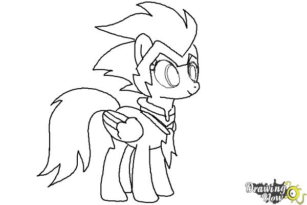 How to Draw Rainbow Dash, Zapp from Power Ponies - Step 10