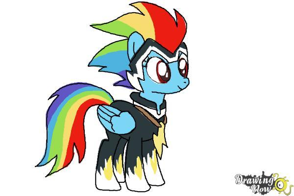 How to Draw Rainbow Dash, Zapp from Power Ponies - Step 11