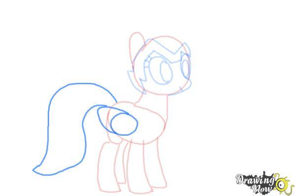 How to Draw Rainbow Dash, Zapp from Power Ponies - Step 6