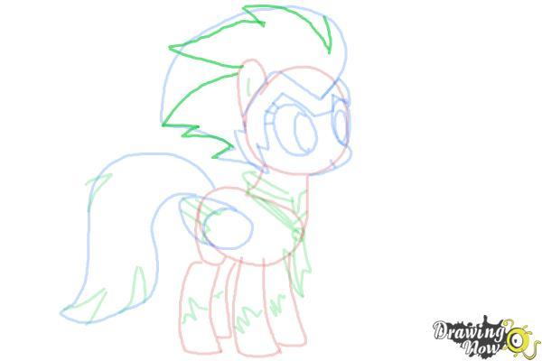 How to Draw Rainbow Dash, Zapp from Power Ponies - Step 9