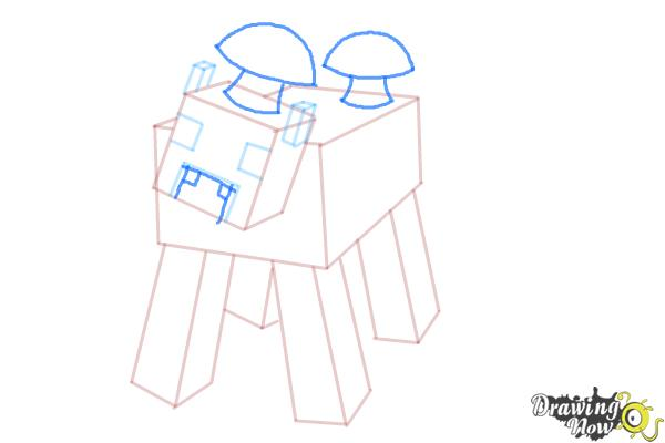 How to Draw a Mooshroom from Minecraft - Step 7