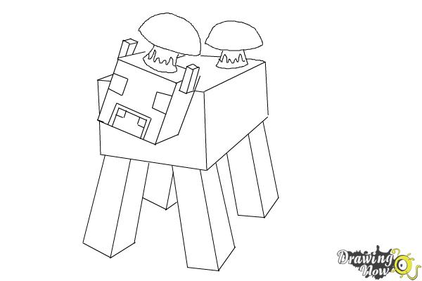 How to Draw a Mooshroom from Minecraft - Step 8